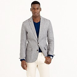 Ludlow sportcoat in grey checked Irish linen