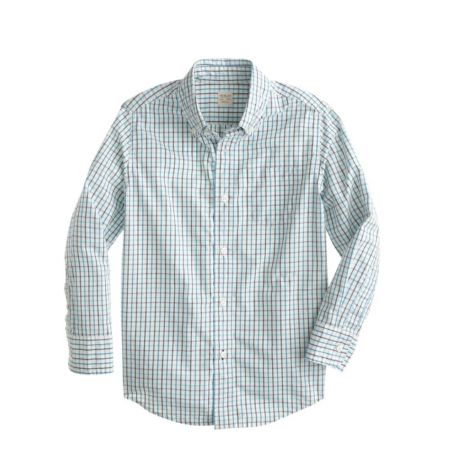 Boys' Secret Wash shirt in bright surf tattersall