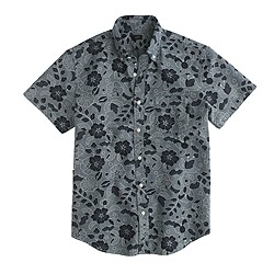 Short-sleeve Japanese chambray shirt in indigo floral