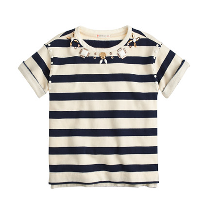 Girls' striped necklace T-shirt
