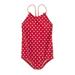 Girls' racerback one-piece swimsuit with neon tipping