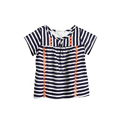Baby gauze top in stripes and flowers