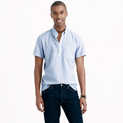 Short sleeve popover shirt in seersucker warm weather for Mens short sleeve seersucker shirts