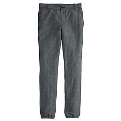 Cuffed lightweight chambray pant