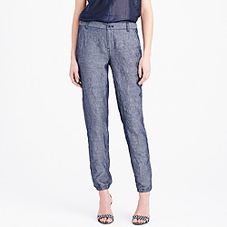 Cuffed lightweight chambray pant