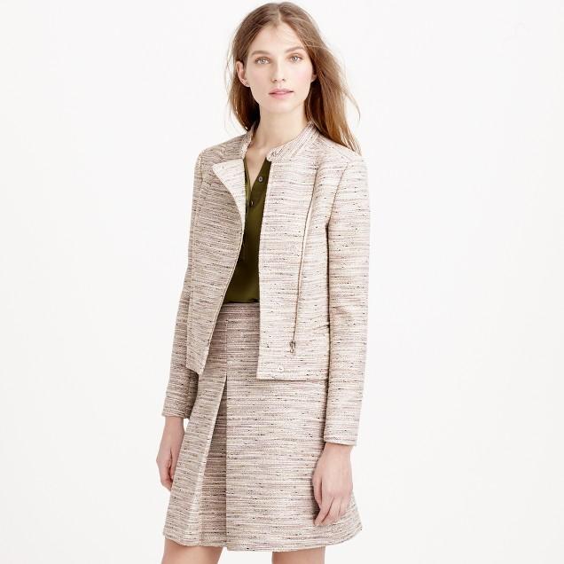 Asymmetrical zip jacket in pink pepper tweed