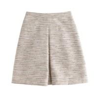 Box-pleat skirt in pink pepper tweed