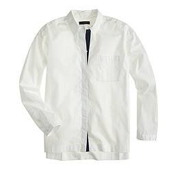 Contrast-placket cropped button-down shirt
