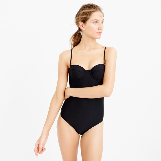 Scalloped underwire one-piece swimsuit