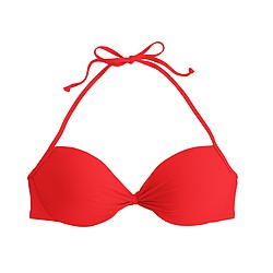 Gathered halter underwire bikini top