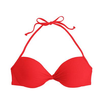 Gathered halter underwire bikini top