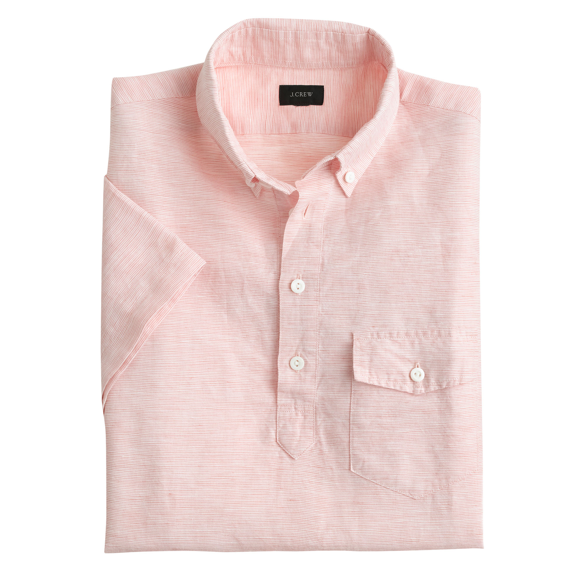Short Sleeve Cotton Linen Popover Shirt In Cape Coral