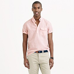 Short-sleeve cotton-linen popover shirt in cape coral stripe