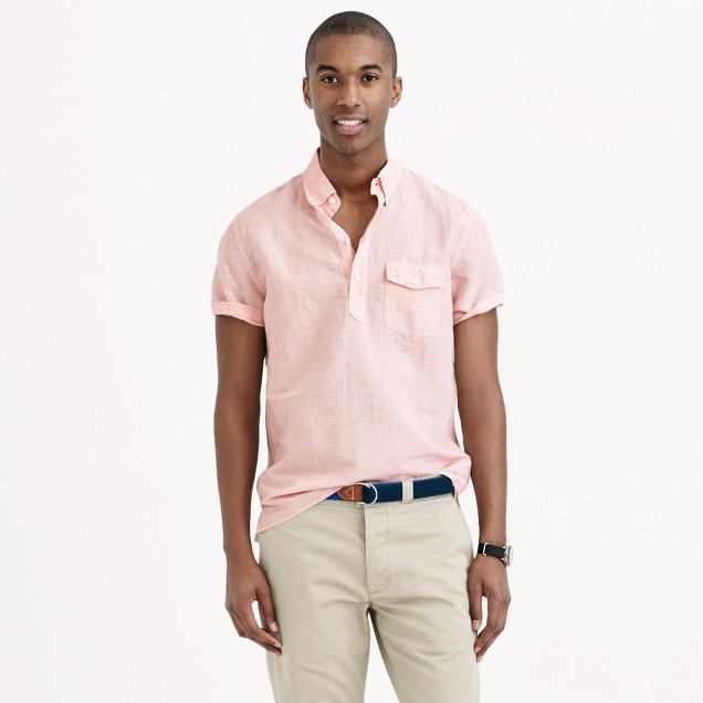 Short-sleeve cotton-linen popover shirt in cape coral stripe