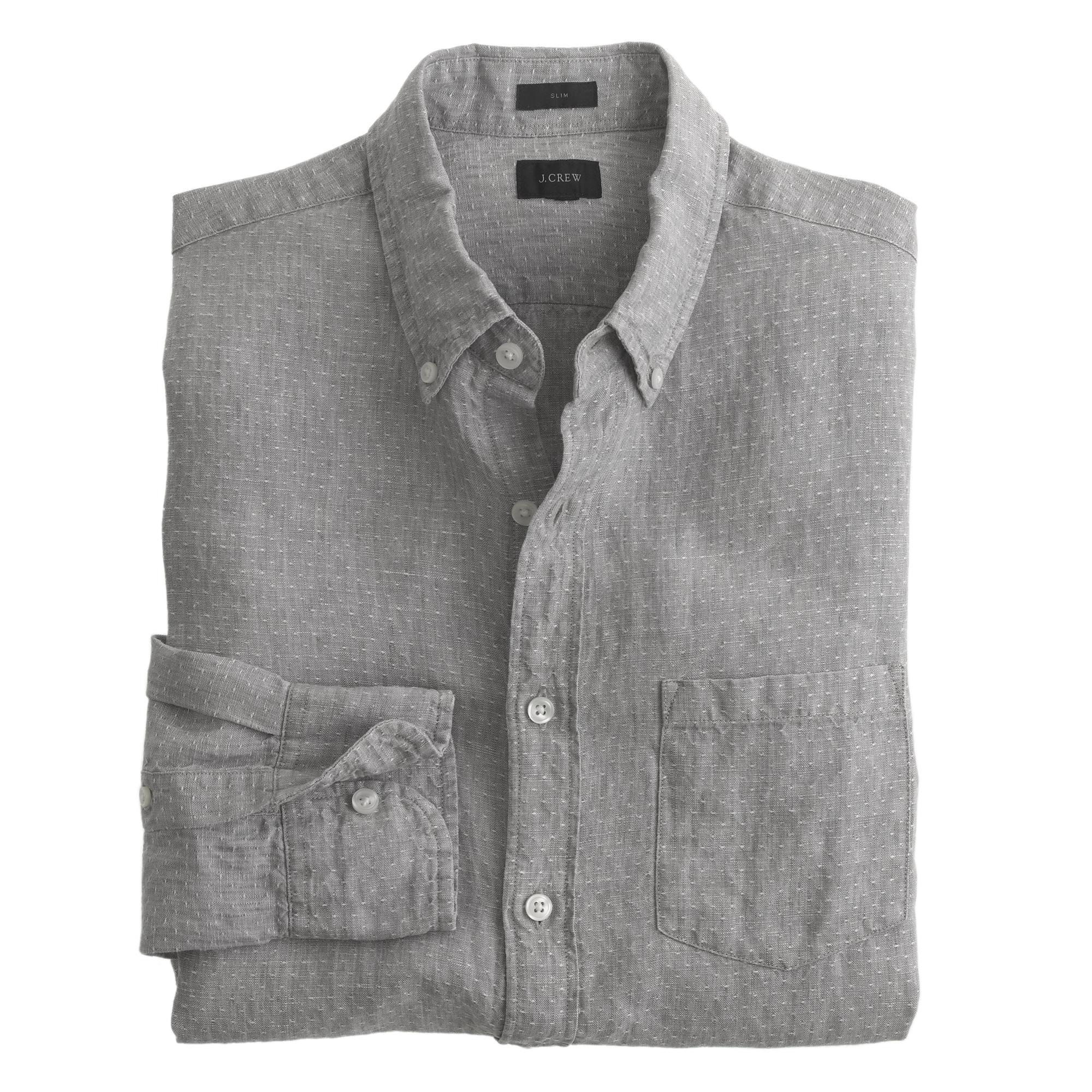 Slim irish linen shirt in dot j crew for Irish linen dress shirts