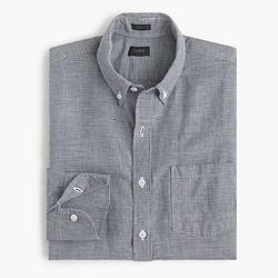 Slim Irish linen shirt in houndstooth