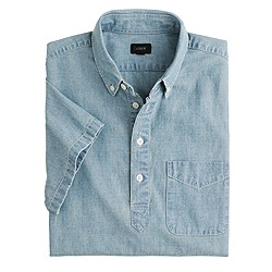 Short-sleeve Japanese chambray popover shirt