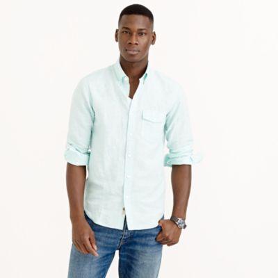 Irish cotton-linen shirt in tropical pool stripe