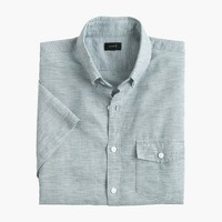 Tall short-sleeve shirt in end-on-end cotton-Irish linen