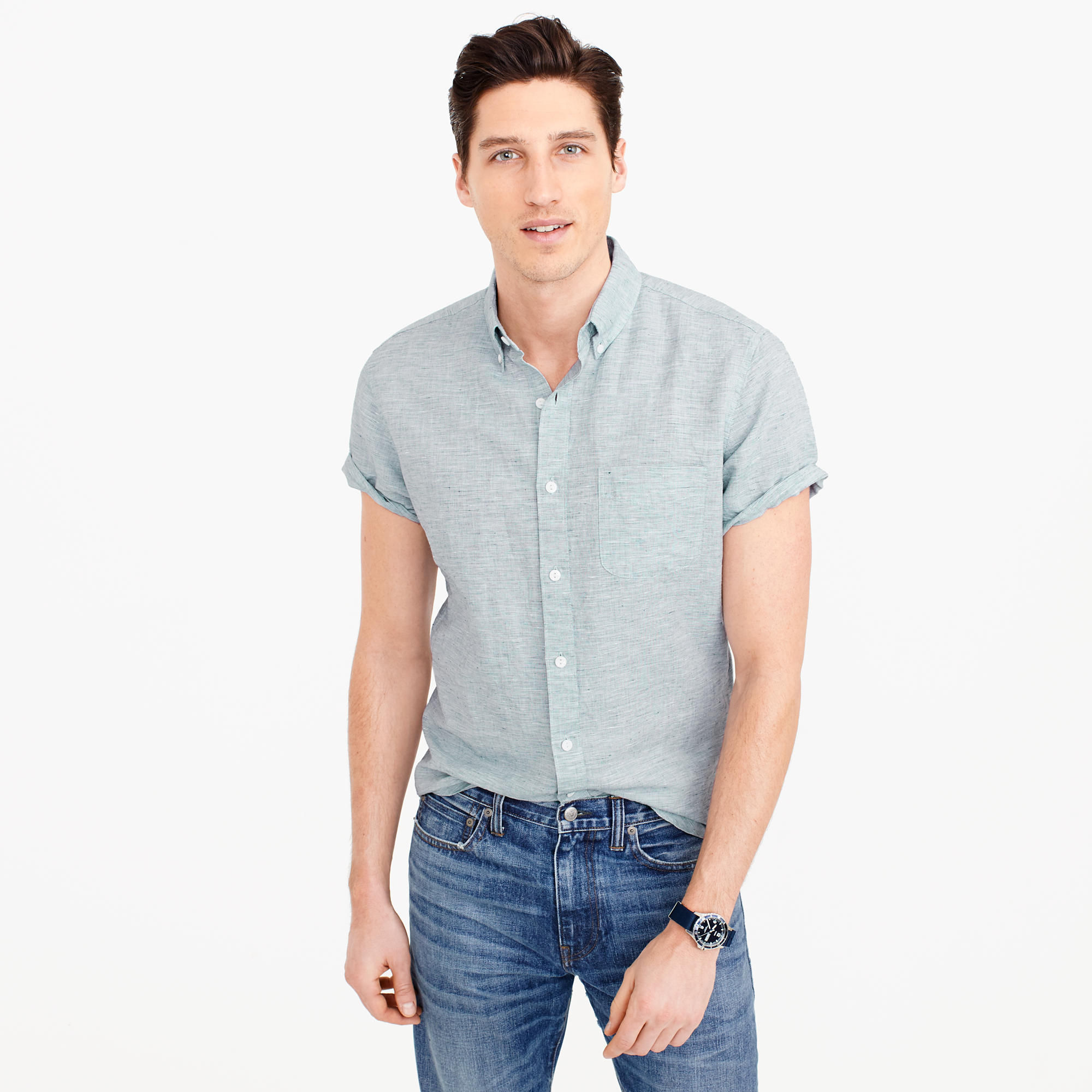 Short-sleeve shirt in end-on-end cotton-Irish linen : Men linen ...