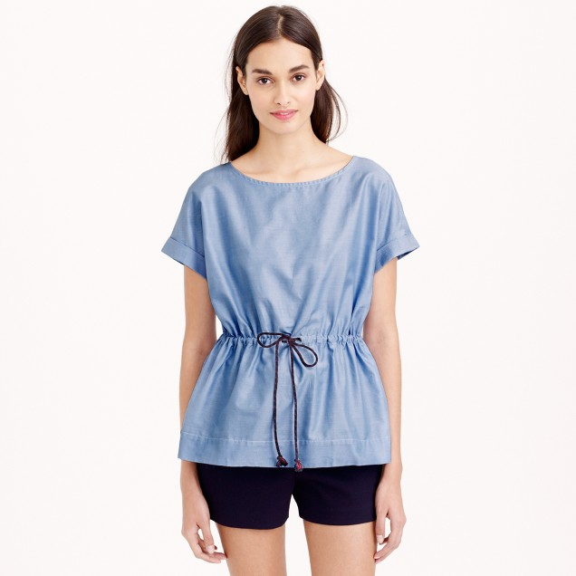 Drawstring top in cotton oxford cloth