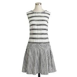 Petite tweed-striped drop-waist dress