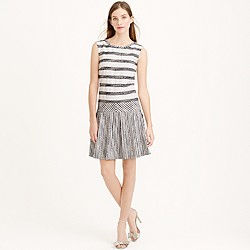 Petite tweed-striped drop-waist dress