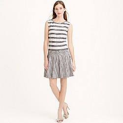 Tall tweed-striped drop-waist dress