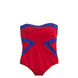 Chevron bandeau one-piece swimsuit