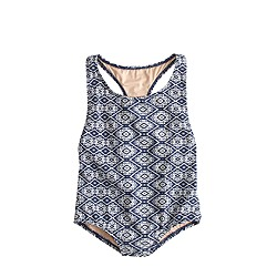 Girls' one-piece swimsuit in blue ikat