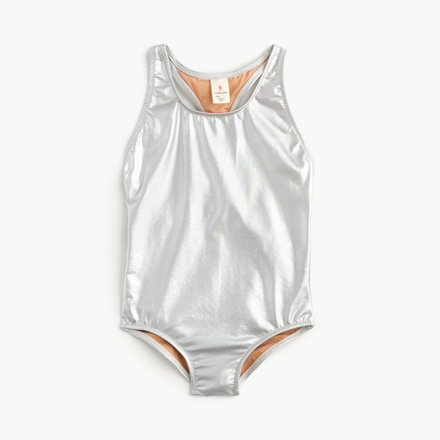 Girls' racerback one-piece swimsuit in metallic