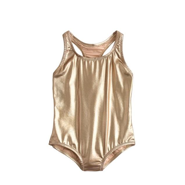 Girls' racerback one-piece swimsuit in metallic