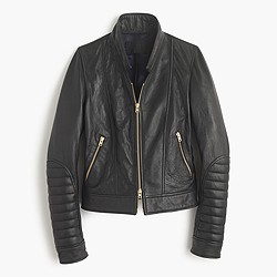 Collection standing-collar leather jacket