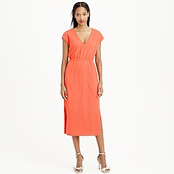 Perforated drapey side-slit dress