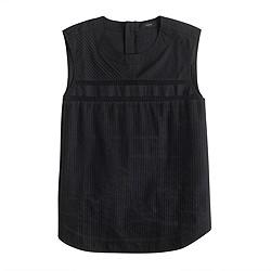 Tall pleated cotton sleeveless top