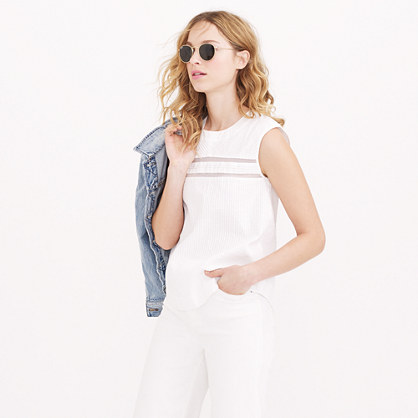 Pleated cotton sleeveless top tops blouses j crew for Tall sleeveless t shirts