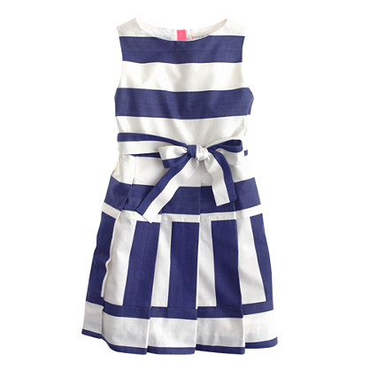 Girls' pleated striped dress
