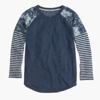 Indigo stripe floral baseball T-shirt