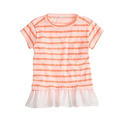 Girls' ruffle striped T-shirt