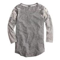 Long-sleeve mixed print T-shirt
