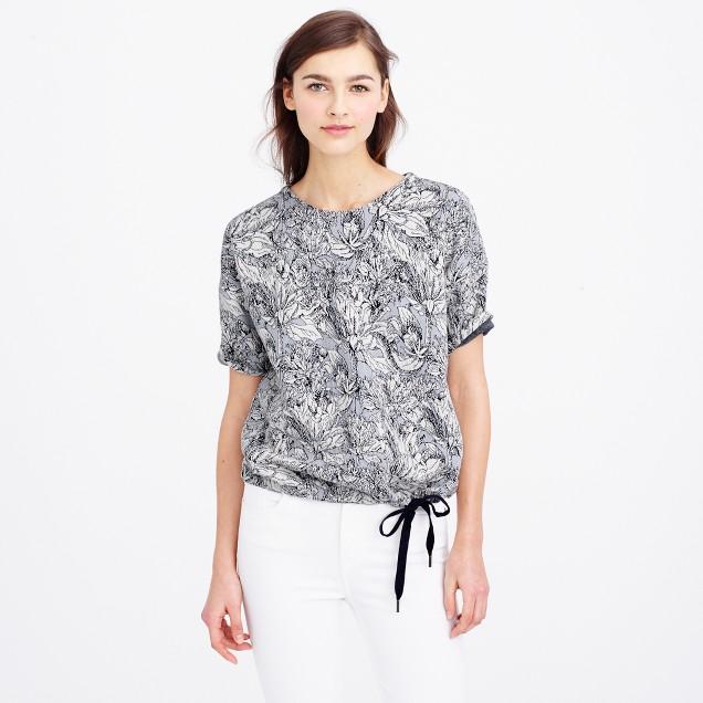 Short-sleeve jacquard drawstring sweatshirt : Women sweatshirts ...