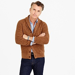 Textured cotton shawl-collar cardigan sweater