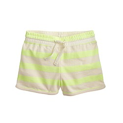 Girls' pull-on track short in neon stripe