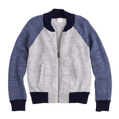 Boys' cotton bomber sweater-jacket : cardigans | J.Crew