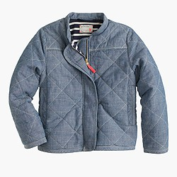 Girls' chambray quilted jacket
