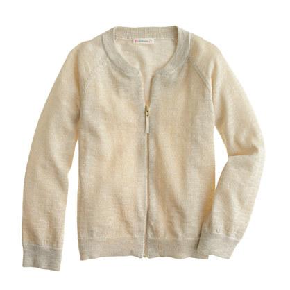 Girls' sparkle bomber sweater