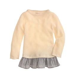 Girls' ruffle shirttail sweater