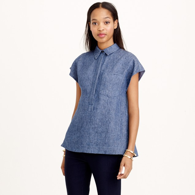 Collection Italian chambray twill popover shirt