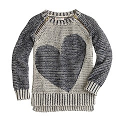 Girls' plaited heart zip popover sweater