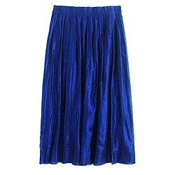 Pleated midi skirt in metallic voile